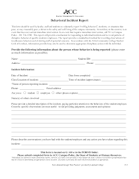 Basic Incident Report Template Free Simple Behavior Incident Report Templates At