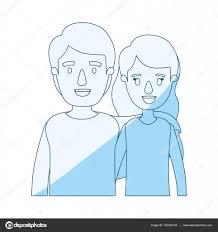 青いシルエットのショート ウェーブのかかった髪と男性半分体カップル