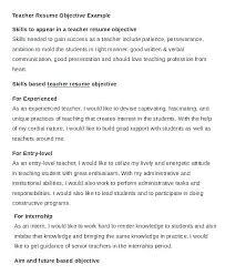 Career Objective For Teacher Resumes Resume Career Objective Sample Resume Creator Simple Source
