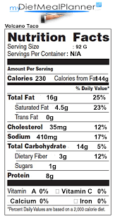 nutrition facts labels for all items in por chain restaurants food group