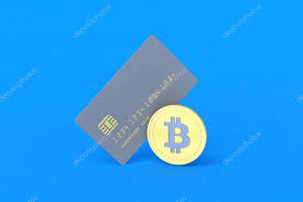 credit card and coin of bitcoin on blue