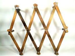 Expandable Wooden Coat Rack Vintage 100 Peg Expandable Wood Accordion Wall Rack Hat Coat Holder 63