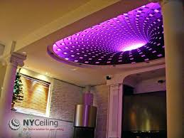 ceiling led lights fabric seamless stretch ceiling with print dark hole and led strip lighting