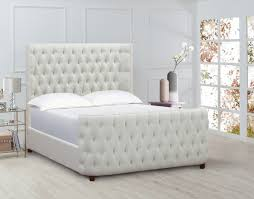 Brooklyn Tufted Bed Antique White Queen Size Jennifer Taylor Home