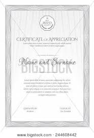 Award Paper Template Delectable Certificate Template Vector Photo Free Trial Bigstock