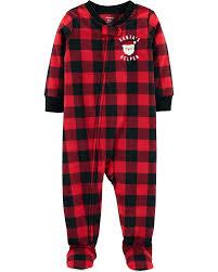 Carters Sleepers Size Chart Carters Toddler Holiday 1 Piece Pjs Pajama Santa Buffalo Plaid Fleece Sleeper Footie 2t