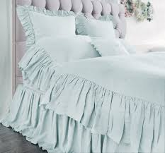mermaid long ruffle duvet cover set blue