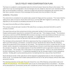 Incentive Compensation Plan Template Sales Commission Policy ...
