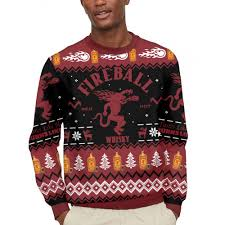 Fireball Cinnamon Whisky Sweater Ugly Christmas Sweatshirt Casual Hood