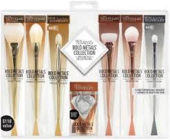 real techniques bold metals collection box full face makeup brush set six brushes plus one sponge blender