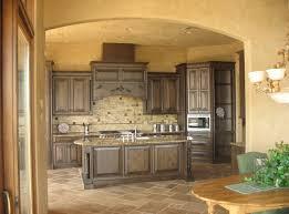 kitchen captivating brown wooden cabinets plus brick backsplash applies tuscan kitchen design ideas with ovaled wooden