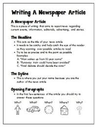 Writing A Newspaper Article English Writing A Newspaper Article Grades 6 12