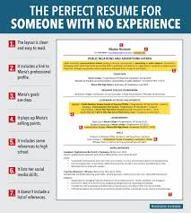 BI_graphics_goodResume (1) Skye Gould/Business Insider. What makes this an excellent  resume for someone with no experience? Augustine outlines ...