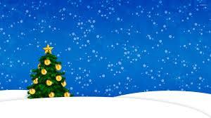 Falling Christmas Tree Lights Snow Falling On The Golden Christmas Tree Wallpaper