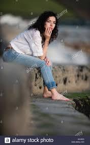 Amazing brunette lonley girl outdoor