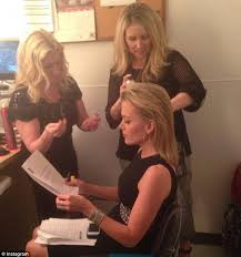 walsh at left applies make up to top fox news host megyn kelly