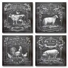 For Kitchen Art Butcher Chart Cow Pig Chicken Fish Kitchen Art Prints