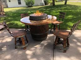 wine barrel patio table fire pit with