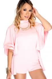 Light Pink Romper Sexy Light Pink Mock Neck Mid Layered Batwings Sleeves Back Cut Out Romper