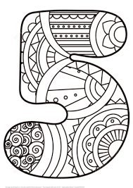 Small Picture Number 5 Zentangle coloring page Free Printable Coloring Pages