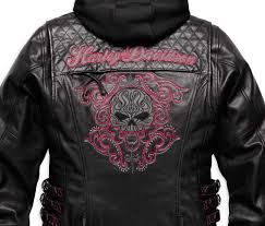 harley davidson women s scroll skull 3 in 1 leather motorcycle jacket woman motorcycle enthusiast motoress