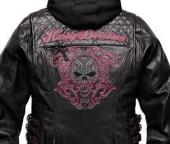 harley davidson women s scroll skull 3 in 1 leather motorcycle jacket