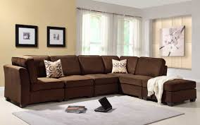 Sectionals Living Room Burke 6 Piece Modular Sectional Living Room Set In Dark Brown