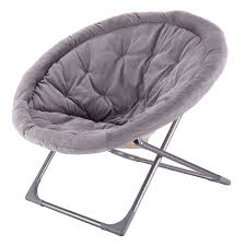 com oversized large folding saucer moon chair corduroy round seat living room gray free e book kitchen dining