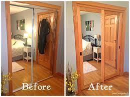 bedroom Glamorous Mirrored Sliding Closet Doors Installation Lowes