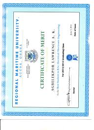 Certificate Of Merit Best Student