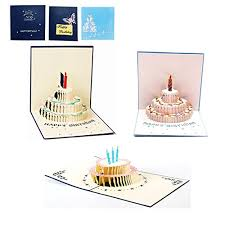 Alletechplus 3 Pack Birthday Cake Cards 3d Pop Up Happy Birthday
