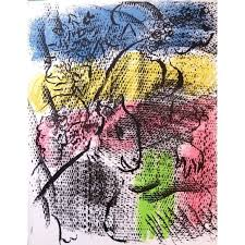 marc chagall original lithograph title couple with a goat 1970 dimensions 32 x 24