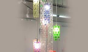 soda bottle chandelier dazzling cascade chandelier is made from chains of recycled plastic bottle flowers green