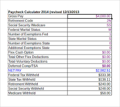 Monthly Paycheck Calculator Sample Net Pay Calculator 6 Documents In Pdf Excel