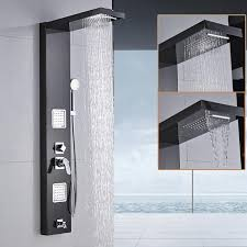 wall shower panel stainless steel rainfall waterfall handle shower massage jets tub spout bath shower column tower 5 function handshower