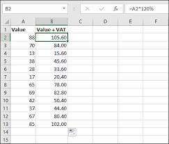 Vat Calculation Formula In Excel Download Adding Vat To A Value In Excel