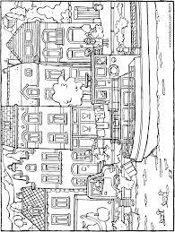 Een Schip Vaart Langs Huizen Kiddicolour