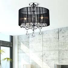 flush mount crystal chandelier chelier black and chrome semi yessica rhinestone silver shade schonbek