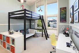 View in gallery Loft beds allow for seating underneath