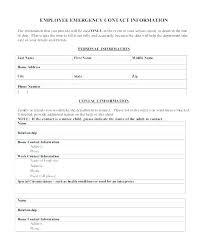 Employee Emergency Contact Information Template Template For Emergency Contact Information Atlasapp Co