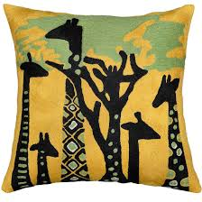 abstract giraffe throw pillow cover hand embroidered  x