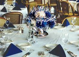 Blue and white centerpieces by Wanderfuls for Tom's graduation party.