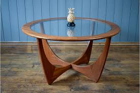 vintage g plan astro round wood glass coffee table or side table