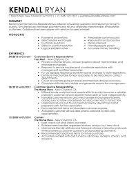 Example Of Resume Stunning Resume Of A Customer Service Representative Customer Service