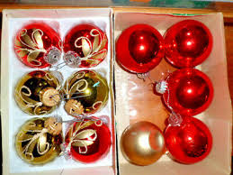 Alter Christbaumschmuck West Germany Kugeln Rot Gold