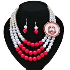 delta sigma theta necklace jewelry set ii