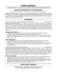 Maintenance Supervisor Sample Resume Resumes Maintenance Supervisor
