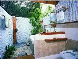 Bathroom Ideas:Best Outdoor Bathroom Design Ideas Incredible Soaking Gray  Stone Bathtub With Rain Head