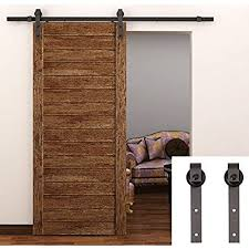 tcbunny 6 6 feet country steel sliding barn wood door hardware antique style brown