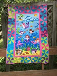 Crib Quilt ePattern 4749-1 children's wall by castillejacotton ... & Little Girl Quilt with Little Mermaids by Deborah Edwards for Northcott  Fabrics Adamdwight.com